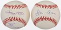 Autographs:Baseballs, Willie Mays and Hank Aaron Signed Baseballs Lot of 2....