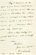 "Autographs:Non-American, [Phrenology]. George Combe Autograph Letter Signed. Two pages withintegral blank. London, September, 1851. Measures 7"" x 4...."