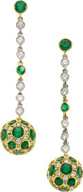 Estate Jewelry:Earrings, Hammerman Bros. Emerald, Diamond, Gold Earrings. ...