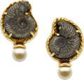 Estate Jewelry:Earrings, Elizabeth Gage Ammonite, Cultured Pearl, Gold Earrings. ...