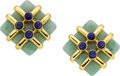 Estate Jewelry:Earrings, Aldo Cipullo for Cartier Jadeite Jade, Lapis Lazuli, Gold Earrings....