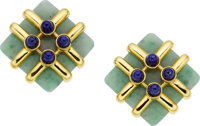 Aldo Cipullo for Cartier Jadeite Jade, Lapis Lazuli, Gold Earrings