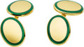Estate Jewelry:Cufflinks, Tiffany & Co. Enamel, Gold Cuff Links. ...