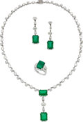 Estate Jewelry:Suites, Emerald, Diamond, White Gold Jewelry. ... (Total: 3 Pieces)