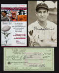 Autographs:Post Cards, Legendary Managers Signed Check And Postcard Lot of 2....