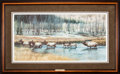 Art, Carl Brenders. Autumn Procession - Elk (1995). 32 x 16 Inches.Print on paper; SN529 of 1500. Condition: Very good . Accompa...