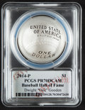 Baseball Collectibles:Others, 2014 Dwight Gooden Signed Baseball Hall of Fame Silver Dollar PCGSPR70DCAM Coin....