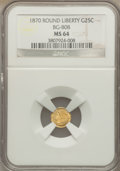California Fractional Gold: , 1870 25C Liberty Round 25 Cents, BG-808, R.3, MS64 NGC. NGC Census:(13/23). PCGS Population (61/67). . The Valley View ...
