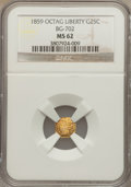 California Fractional Gold: , 1859 25C Liberty Octagonal 25 Cents, BG-702, R.3, MS62 NGC. NGCCensus: (4/58). PCGS Population (23/134). . The Valley V...