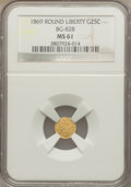 California Fractional Gold: , 1869 25C Liberty Round 25 Cents, BG-828, High R.4, MS61 NGC. NGCCensus: (6/3). PCGS Population (7/35). . The Valley Vie...