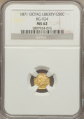 California Fractional Gold: , 1871 50C Liberty Octagonal 50 Cents, BG-924, R.3, MS62 NGC. NGCCensus: (12/5). PCGS Population (73/61). . The Valley Vi...