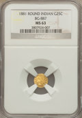 California Fractional Gold: , 1881 25C Indian Round 25 Cents, BG-887, R.3, MS63 NGC. NGC Census:(9/13). PCGS Population (35/101). . The Valley View L...