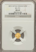 California Fractional Gold: , 1872 25C Indian Octagonal 25 Cents, BG-791, R.3, MS65 NGC. NGCCensus: (13/2). PCGS Population (15/3). . The Valley View...