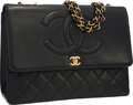 Luxury Accessories:Bags, Chanel Black Quilted Lambskin Leather Flap Bag with Gold Hardware....