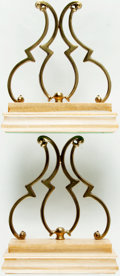 Books:Furniture & Accessories, [Bookends]. Decorative Pair of Ornate Solid Brass Bookends onWooden Bases. No maker indicated. Made in Italy. Felt bottoms....(Total: 2 Items)