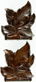 "Books:Furniture & Accessories, [Bookends]. Decorative Solid Metal Pair with a Leaf Motif. Bronzefinish. No maker indicated. Felt bottoms. Measures 5"" ... (Total: 2Items)"