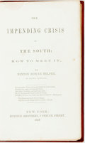 Books:Americana & American History, [Abolition]. Hinton Rowan Helper. The Impending Crisis of theSouth: How to Meet It. New York: Burdick Brothers, 185...