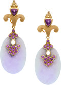Estate Jewelry:Earrings, Paula Crevoshay Lavender Jade, Amethyst, Gold Earrings. ...