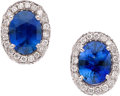 Estate Jewelry:Earrings, Sapphire, Diamond, Platinum Earrings. ...
