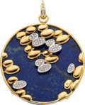 Estate Jewelry:Pendants and Lockets, Lapis Lazuli, Diamond, Gold Pendant. ...