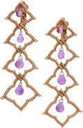 Estate Jewelry:Earrings, Amethyst, Pink Gold Earrings. ...