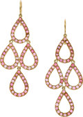 Estate Jewelry:Earrings, Yossi Harari Pink Tourmaline, Gold Earrings. ...