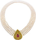 Estate Jewelry:Necklaces, Robert Whiteside Tourmaline, Diamond, Cultured Pearl, Enamel, GoldNecklace. ...