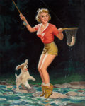 Pin-up and Glamour Art, WALT OTTO (American, 1895-1963). Great Catch, calendarillustration, circa 1940s. Oil on canvas. 38.25 x 30.75 in..Sign...