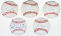 Autographs:Baseballs, Baseball Legends Single Signed Baseballs Lot Of 5. ...