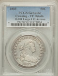 Early Half Dollars, 1803 50C Large 3, Small Reverse Stars, O-101, R.3, -- Cleaned --PCGS Genuine. VF Details. NGC Census: (1/19). PCGS Populat...