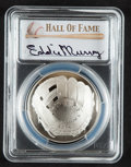 Baseball Collectibles:Others, 2014 Eddie Murray Signed Baseball Hall of Fame Silver Dollar PCGSPR70DCAM Coin.. ...