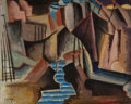 Fine Art - Painting, American:Modern  (1900 1949)  , MAN RAY (American, 1890-1976). The River (RiverInterpretation), 1914. Oil on canvas. 8-1/4 x 10-1/4 inches(21.0 x 26.0...