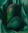 Fine Art - Painting, American:Modern  (1900 1949)  , GEORGIA O'KEEFFE (American, 1887-1986). Alligator Pears,circa 1923. Oil on canvas. 12 x 10 inches (30.5 x 25.4 cm). Sig...