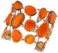 Estate Jewelry:Bracelets, Carnelian, Colored Diamond, Diamond, Pink Gold Bracelet. ...