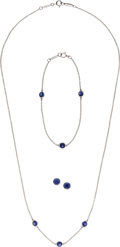 Estate Jewelry:Suites, Elsa Peretti For Tiffany & Co. Sapphire, Platinum Jewelry. ... (Total: 3 Items)