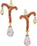 Estate Jewelry:Earrings, Paula Crevoshay Spinel, Zircon, Gold Earrings. ...