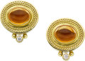 Estate Jewelry:Earrings, SeidenGang Citrine, Diamond, Gold Earrings. ...