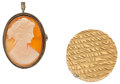 Estate Jewelry:Lots, Diamond, Gold Pillbox and Shell Cameo, Pendant-Brooch. ...