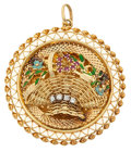 Estate Jewelry:Pendants and Lockets, Diamond, Ruby, Enamel, Gold Pendant. ...