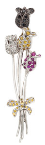 Estate Jewelry:Brooches - Pins, Colored Diamond, Diamond, Sapphire, Ruby, White Gold Brooch. ...