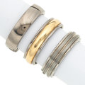 Estate Jewelry:Rings, Lot of Gentleman's Titanium, Stainless Steel, Gold Bands. ... (Total: 3 Items)
