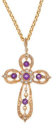 Amethyst, Diamond, Seed Pearl, Gold Pendant-Necklace