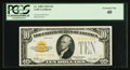 Small Size:Gold Certificates, Fr. 2400 $10 1928 Gold Certificate. PCGS Extremely Fine 40.. ...
