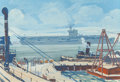 Mainstream Illustration, NOEL DOUGLAS SICKLES (American, 1910-1982). Shipyard, circa1960s. Gouache and pastel on board. 15 x 22 in. (sight). Sig...