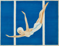 Mainstream Illustration, AMERICAN ARTIST (20th Century). Blue Diver, Jantzen swimsuitadvertisement, circa 1940s. Watercolor on paper laid on boa...
