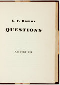 Books:Non-fiction, C.F. Ramuz. Questions. France: Aujourd'Hui, [n.d.]. Edition limited to 1,200 copies. Three-quarter morocco . Spine s...