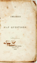 Books:Maps & Atlases, [Geography]. The Amesbury Map Questions. Amesbury: Pettengill & Hood, 1843. In original plain wrappers. Offsetting t...