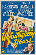 "Movie Posters:Comedy, Unfaithfully Yours (20th Century Fox, 1948). One Sheet (27"" X 41"").Comedy.. ..."