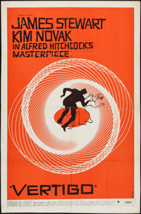 "Vertigo (Paramount, 1958). Trimmed One Sheet (26.75"" X 40.5""). Hitchcock"
