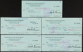 Miscellaneous Collectibles:General, Charles Bronson Signed Checks Lot of 5....